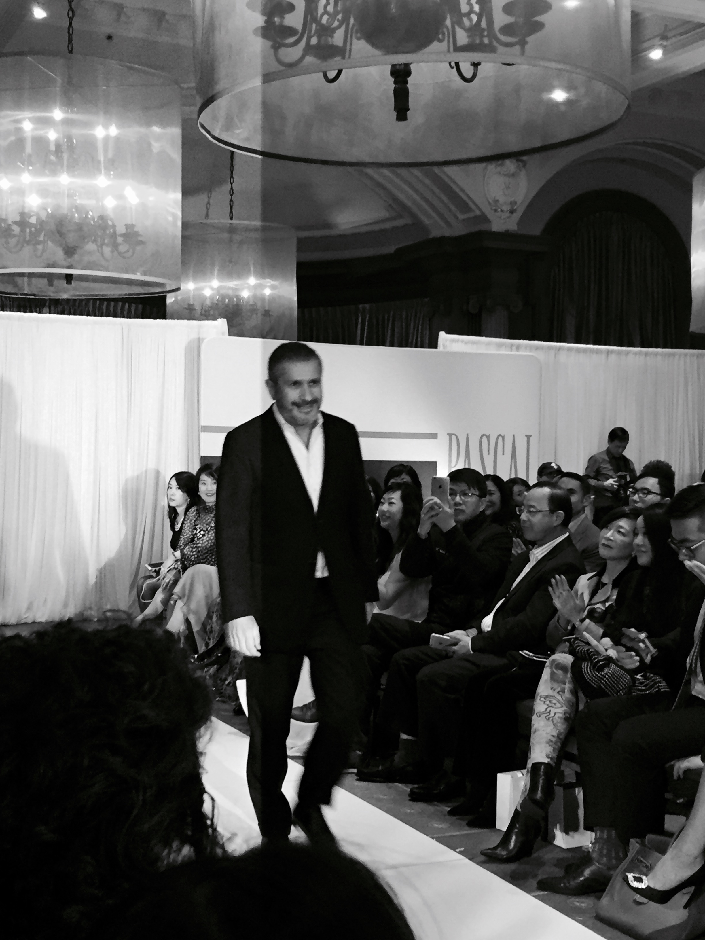 french designer pascal millet taking his finale walk after presenting his ss2016 collection at the vancouver club on november 6, 2015.