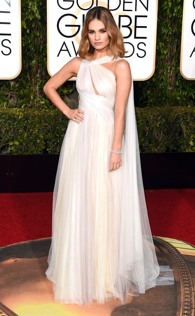 Lily James in Marchesa. Photo by: Jason Merritt/Getty Images