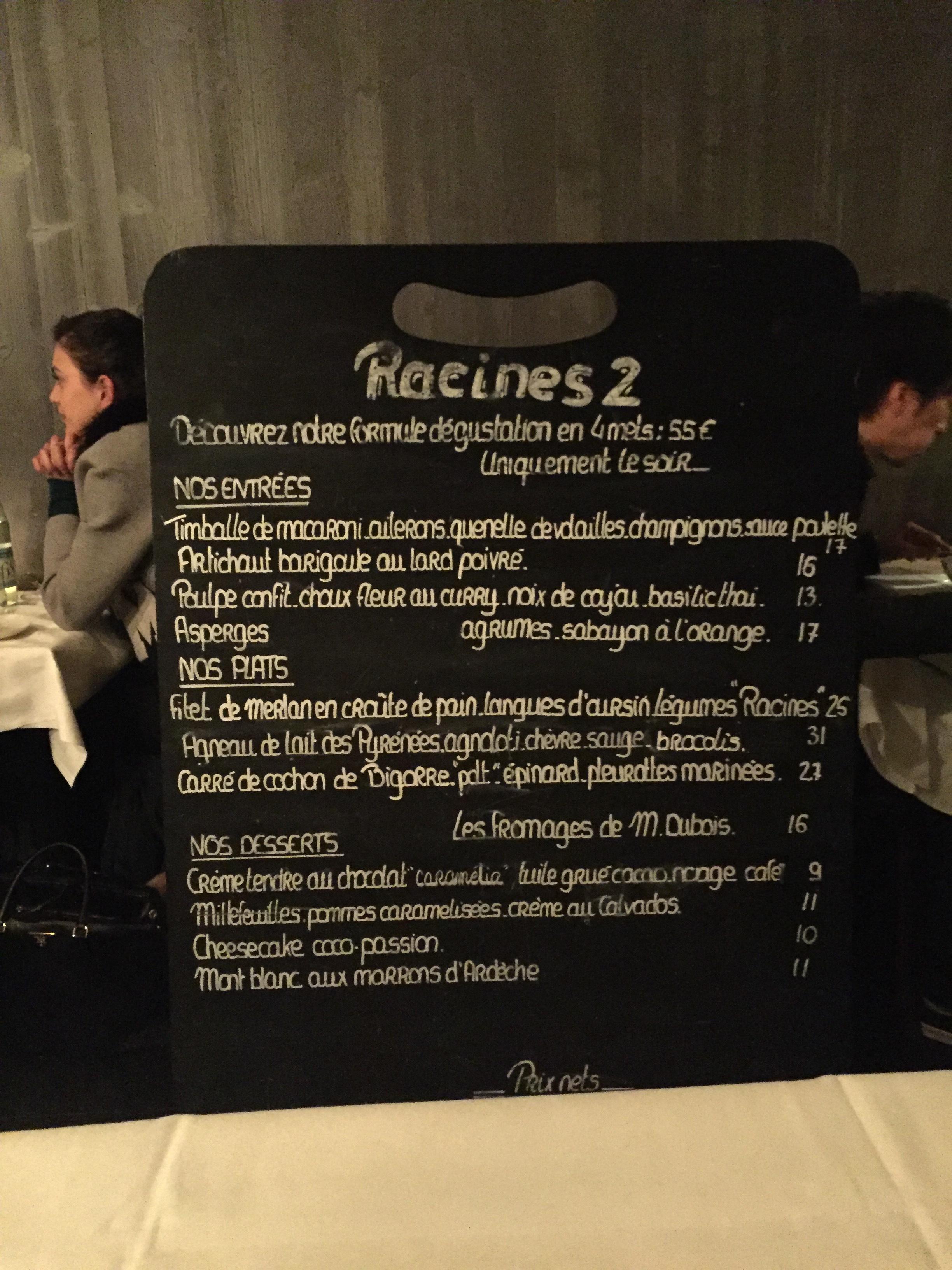 Racines2 menu board