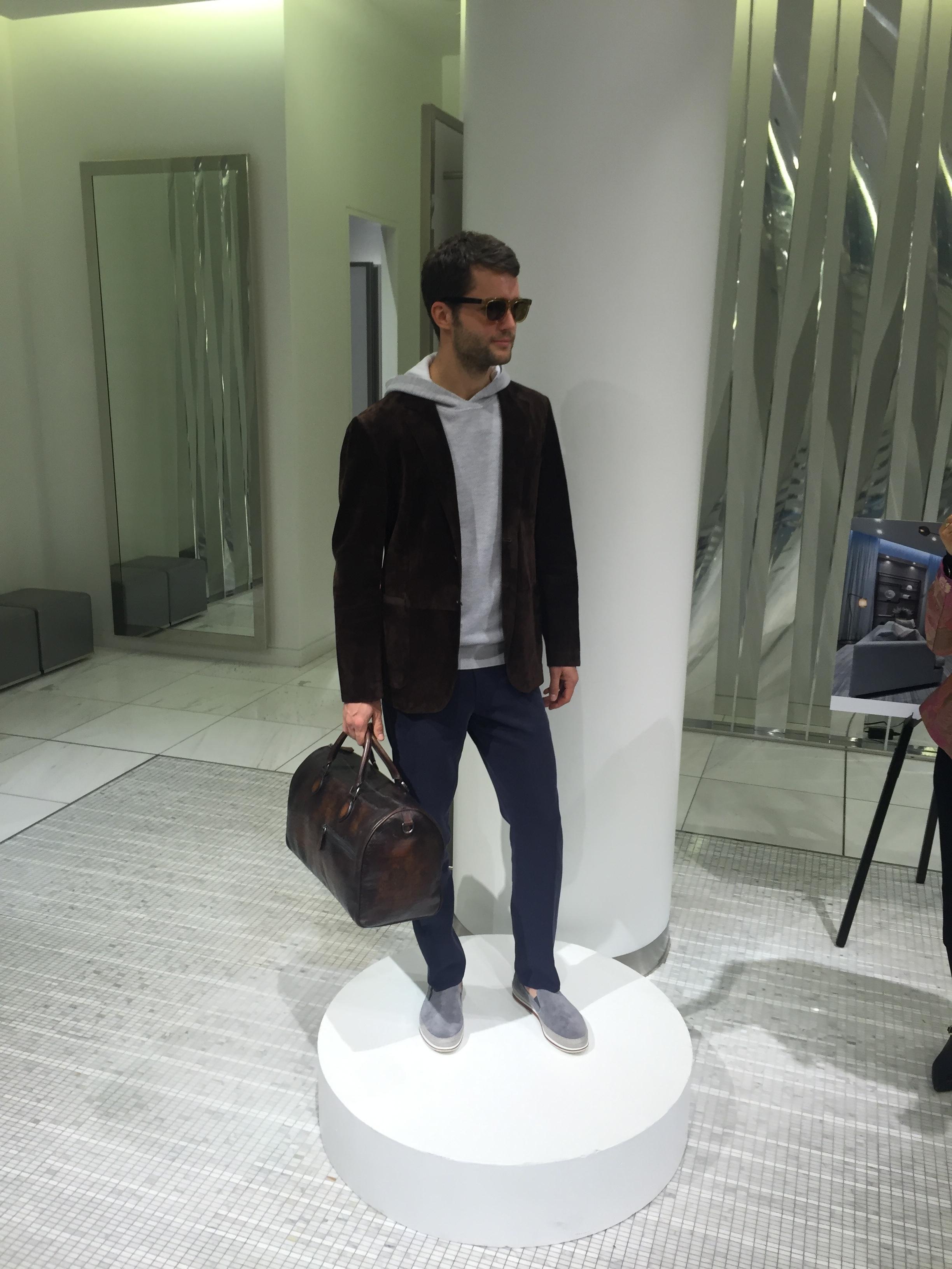 Suede jacket, top, bag, all BERLUTI. Shoes by PRADA