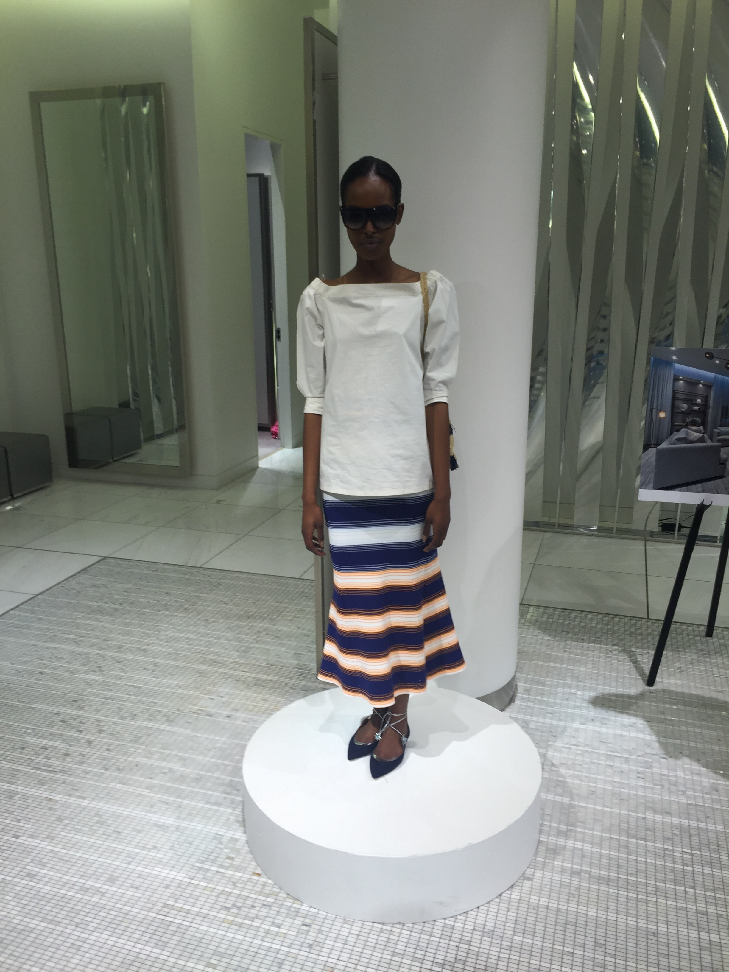 top, THEORY. skirt, TANYA TAYLOR.