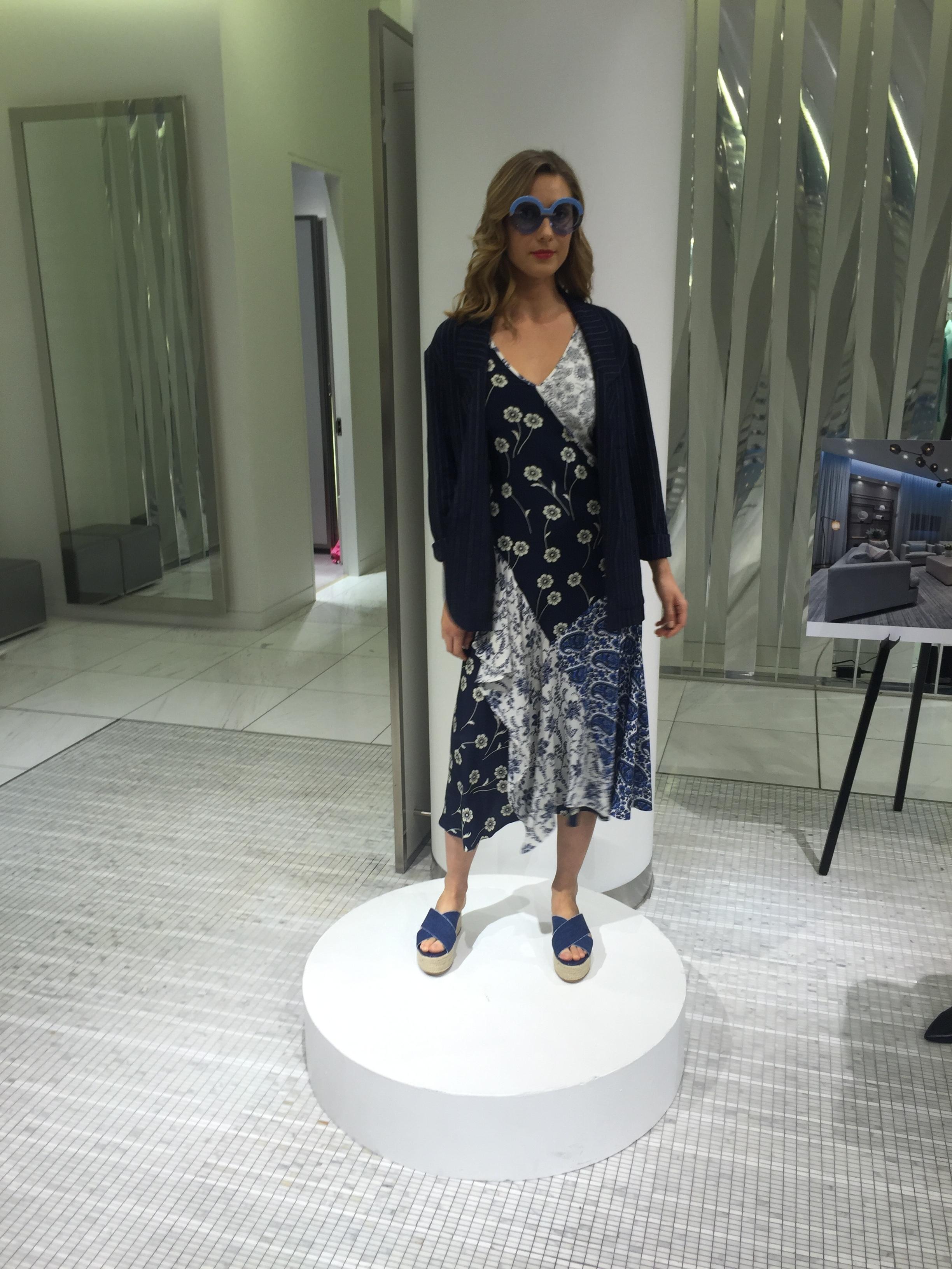 dress, DEREK LAM. jacket, SMYTHE. shoes, PRADA. sunnies, KAREN WALKER