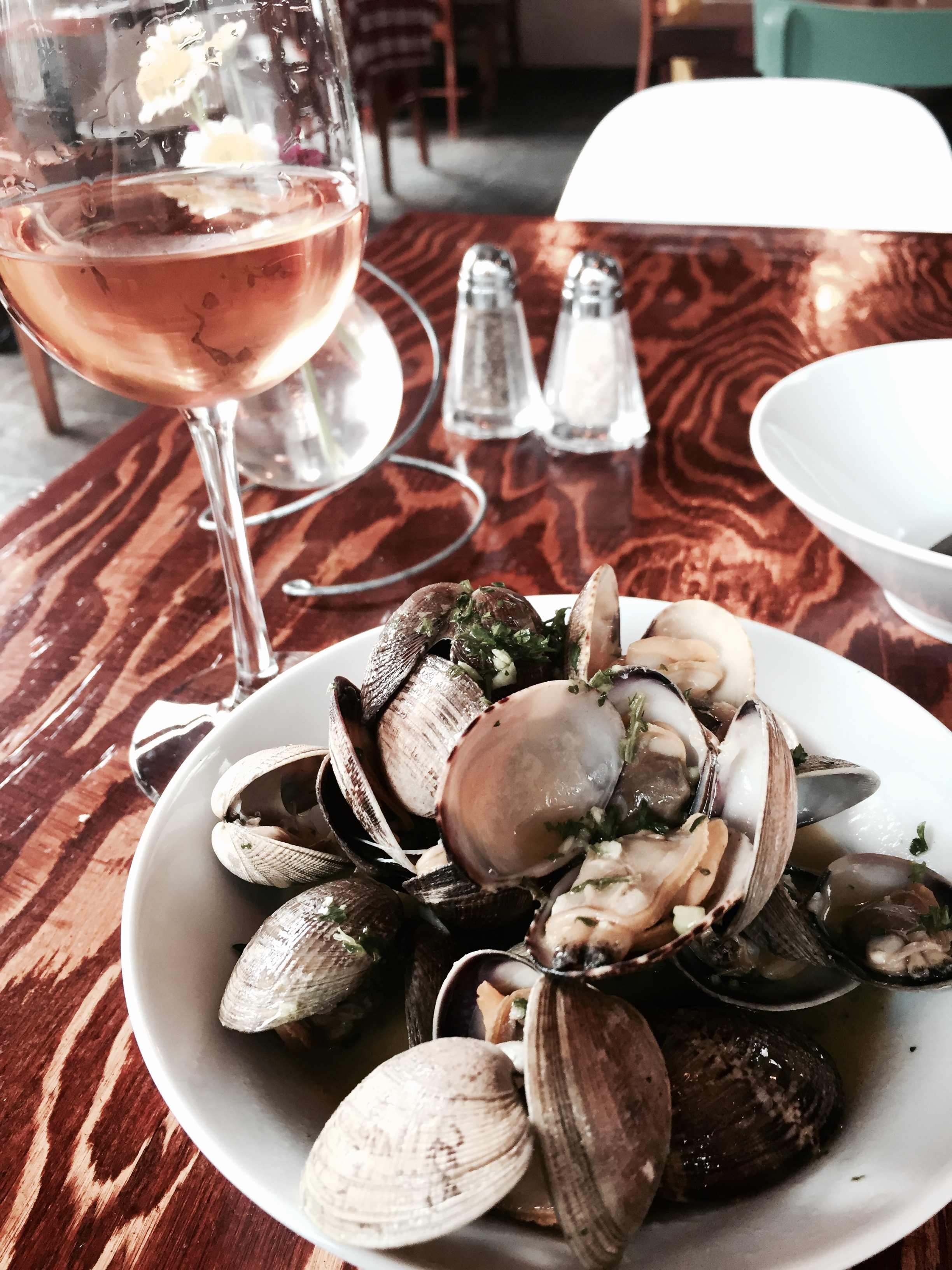 Clams in white wine and butter at Rustique. Pretty basic French bistro fare - done to perfection and paired with a glass of Nichol Pinot Gris. Lovely minerality that goes well with shellfish.