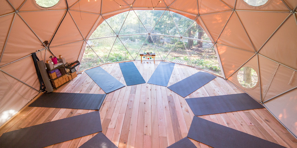 Practising yoga inside Clark's geodesic dome with the scent of cedar-lined floors was an amazing experience. Photo courtesy of Nectar Yoga