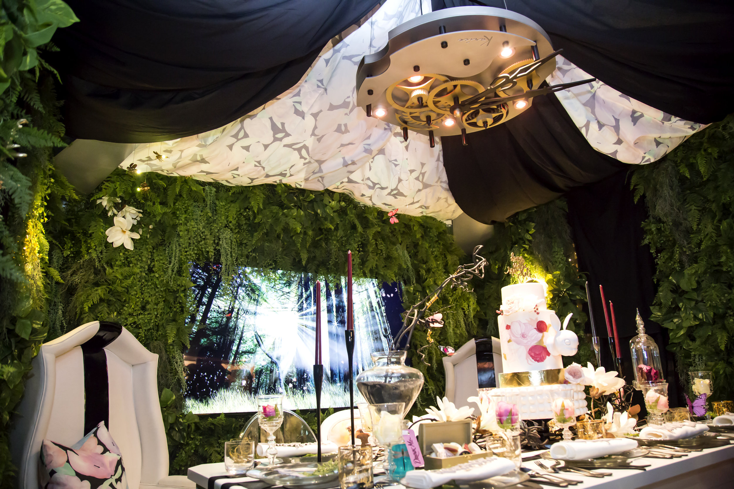 Our fabric was featured all over The Kalu Interiors DinnerxDesign dining installation that took us down the rabbit hole - their Alice in Wonderland escape!  Photo: Airisa Photography
