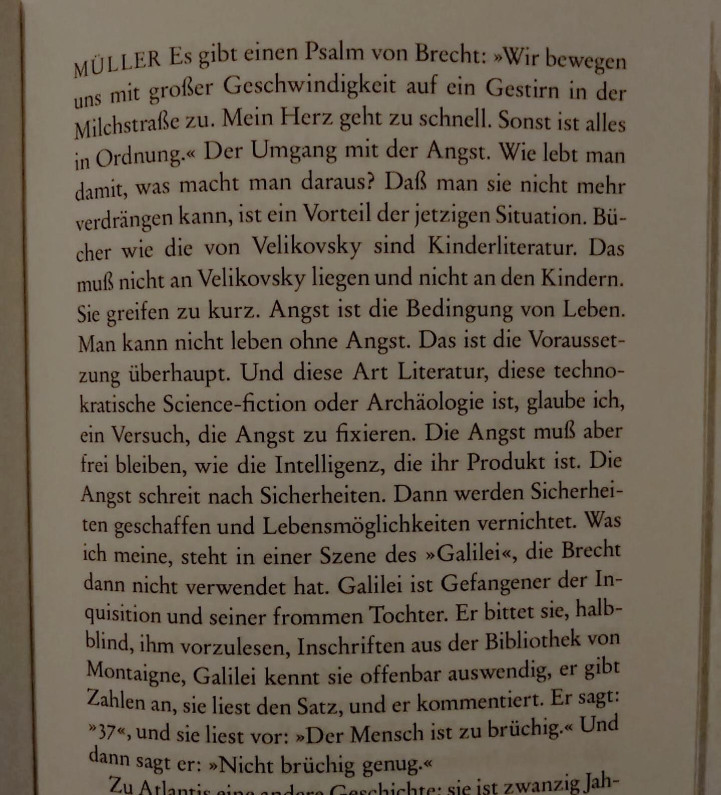 aus Heiner Müllers  »Für alle reicht es nicht«