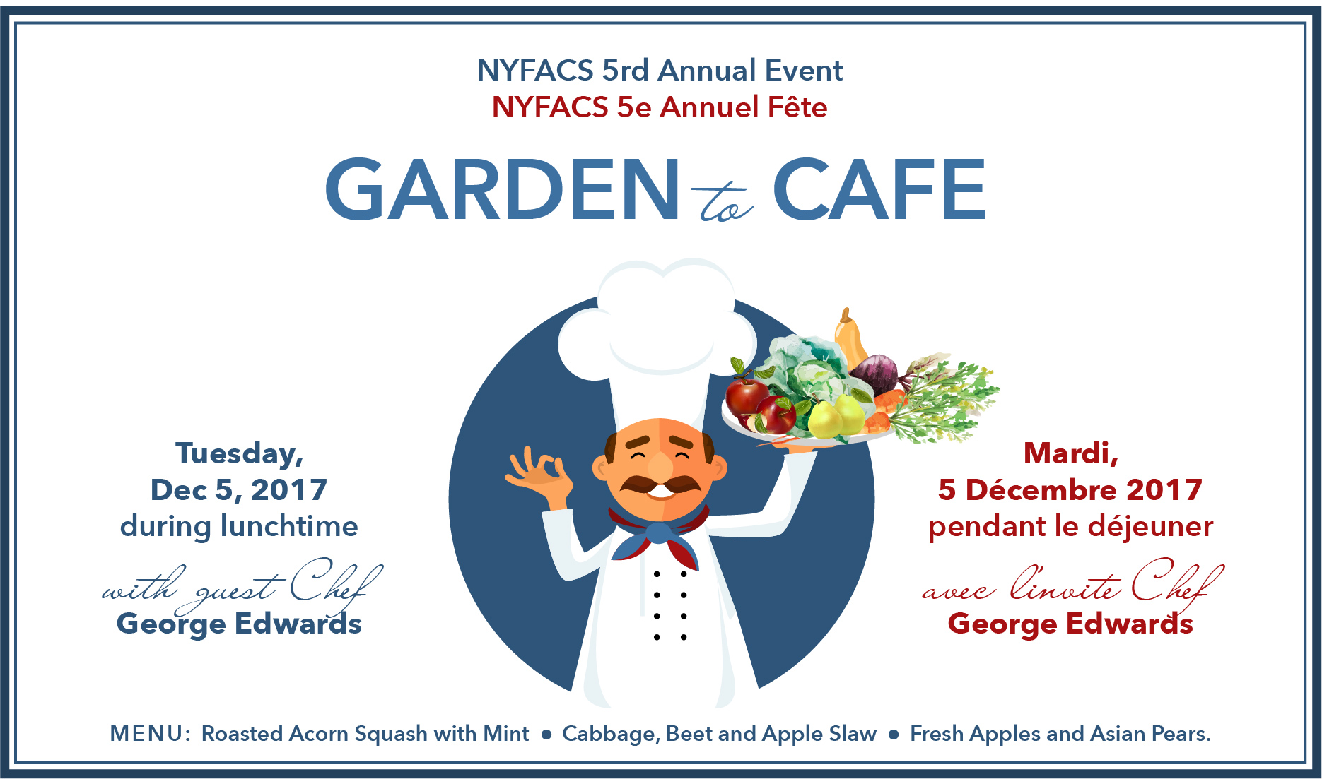 Parents volunteers needed for this event from 11:45am to 1:30pm. We would appreciate your help to assist lunch staff and guest chef George Edwards, so that the children can enjoy and appreciate this generously sponsored event to begin our school gardening year!    Please email d lynch@nyfacs.net  if you can help.