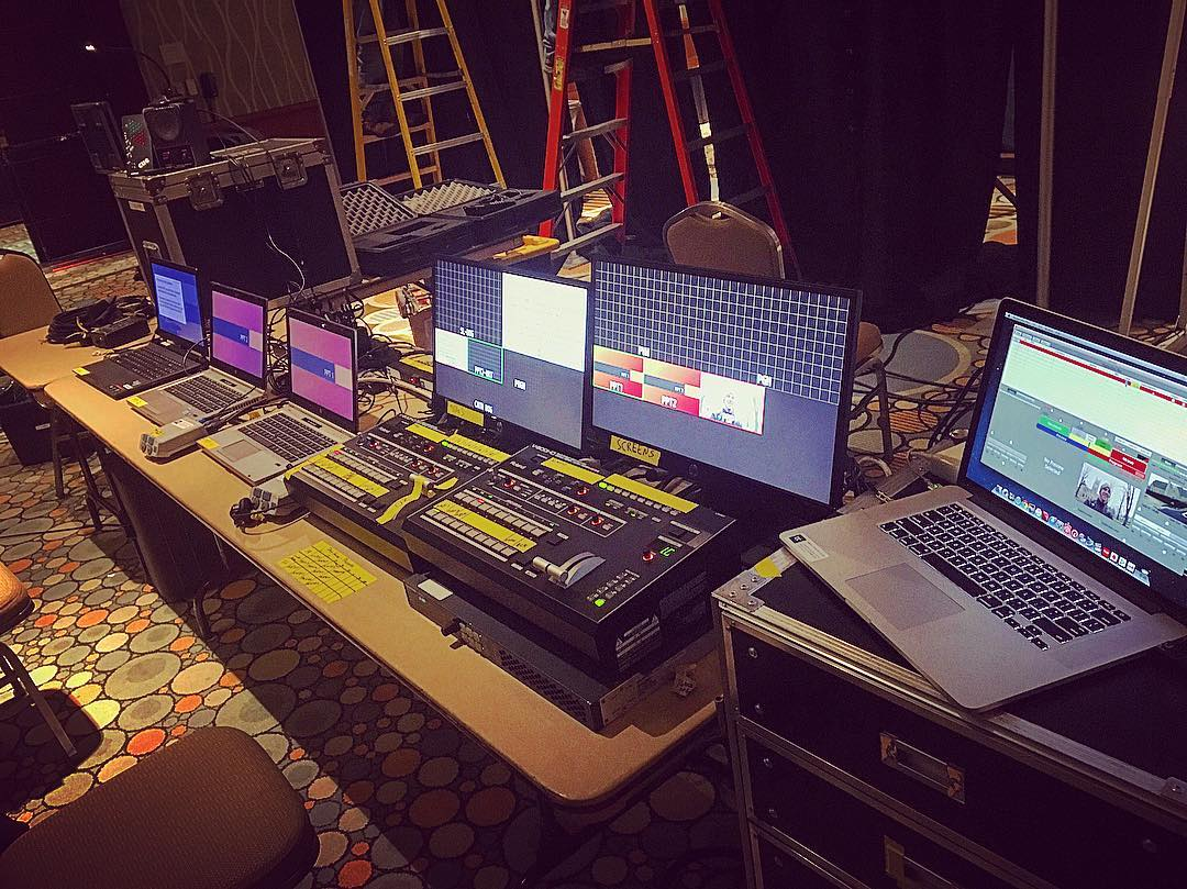 #backstage for another #ballroom #corporateevent #weloveourclients #audiovideo #videosupport #powerpoint #av #staging #sound #soundreenforcement #playbackpro #videosupport #eventproduction #roland.jpg