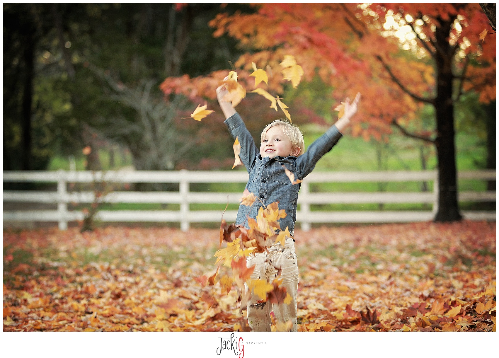 Playing in leaves was so much fun.