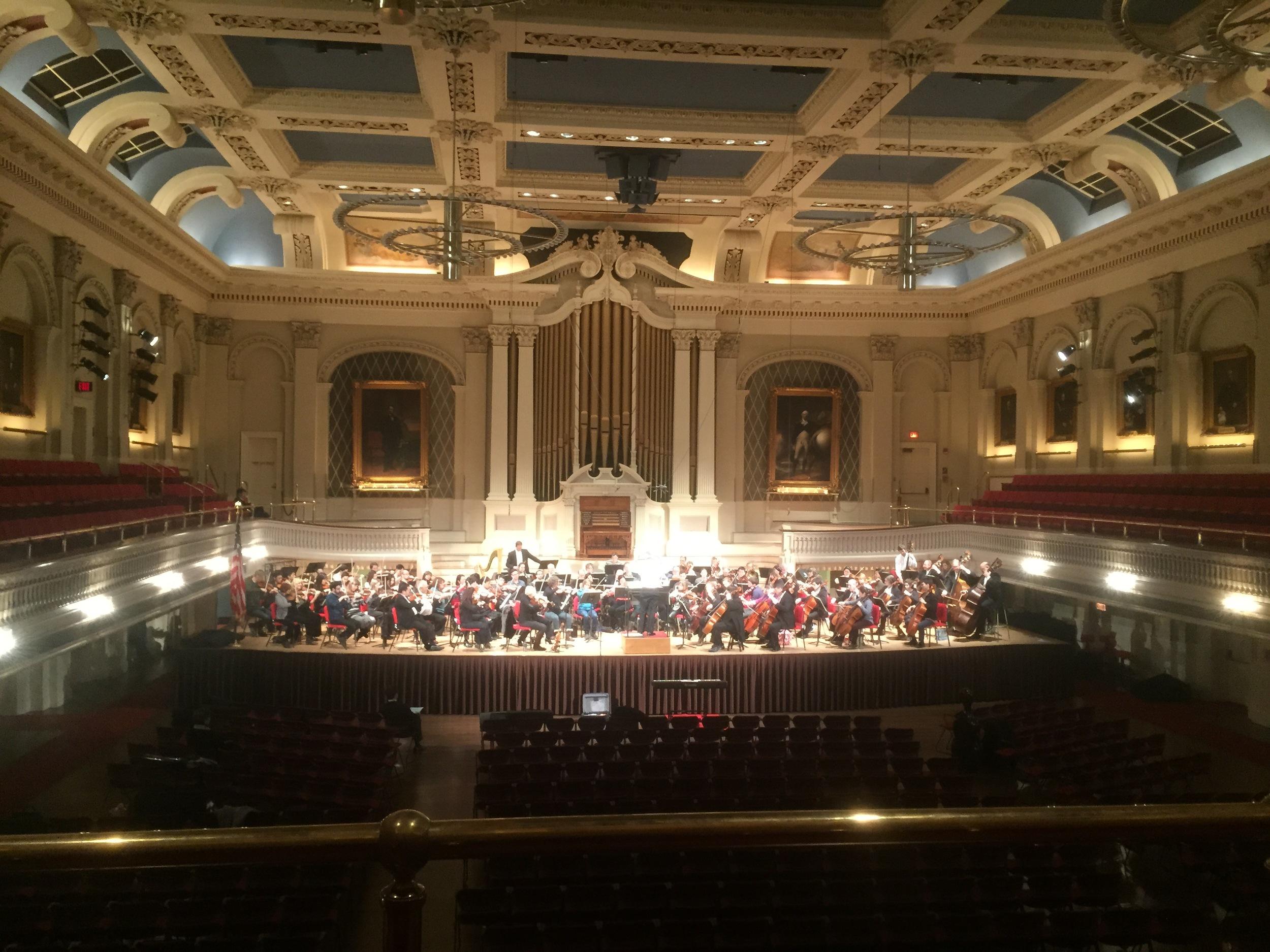 Boston Philharmonic performing at Mechanics Hall.