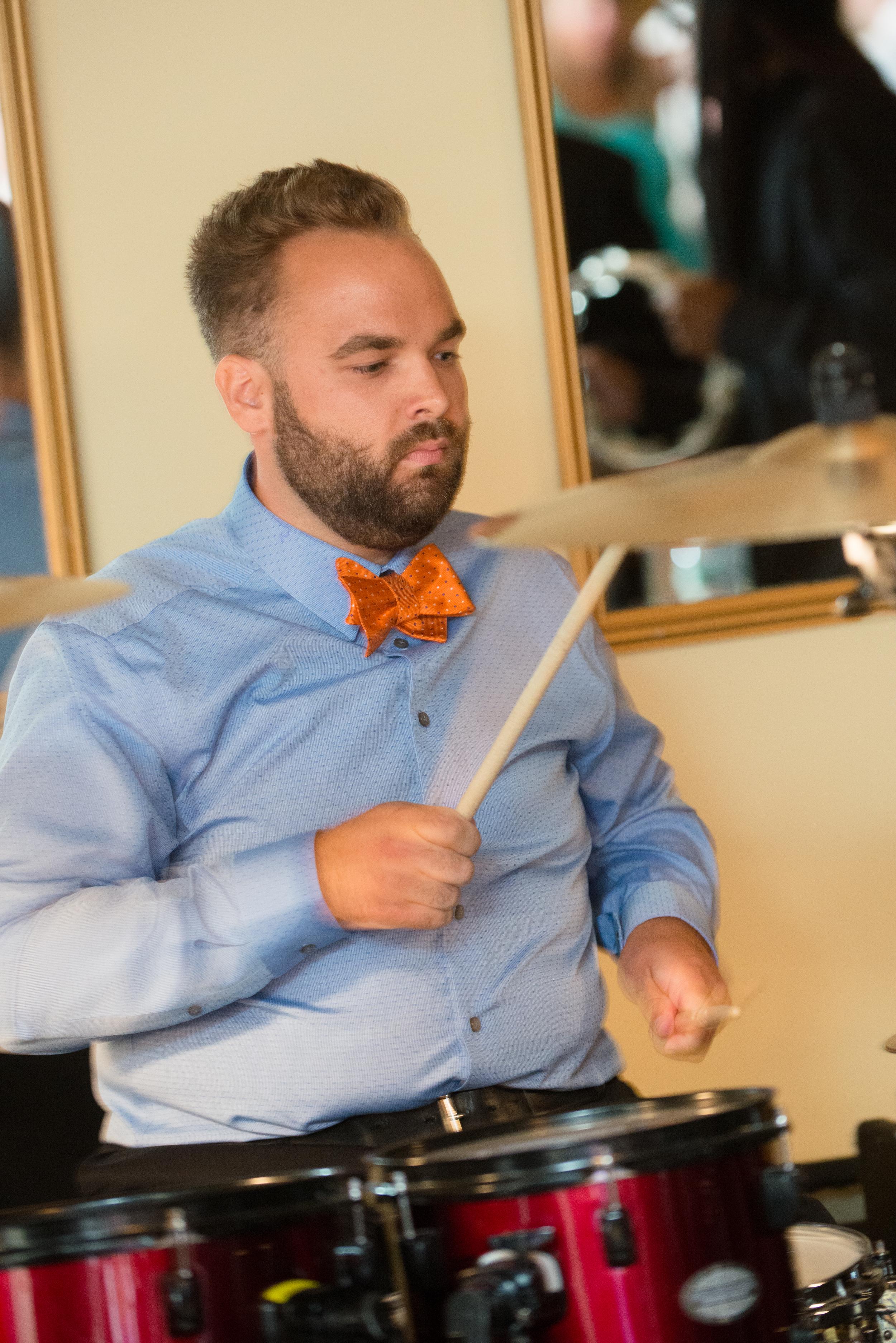 Playing drum set at Danny Merrigan's wedding.