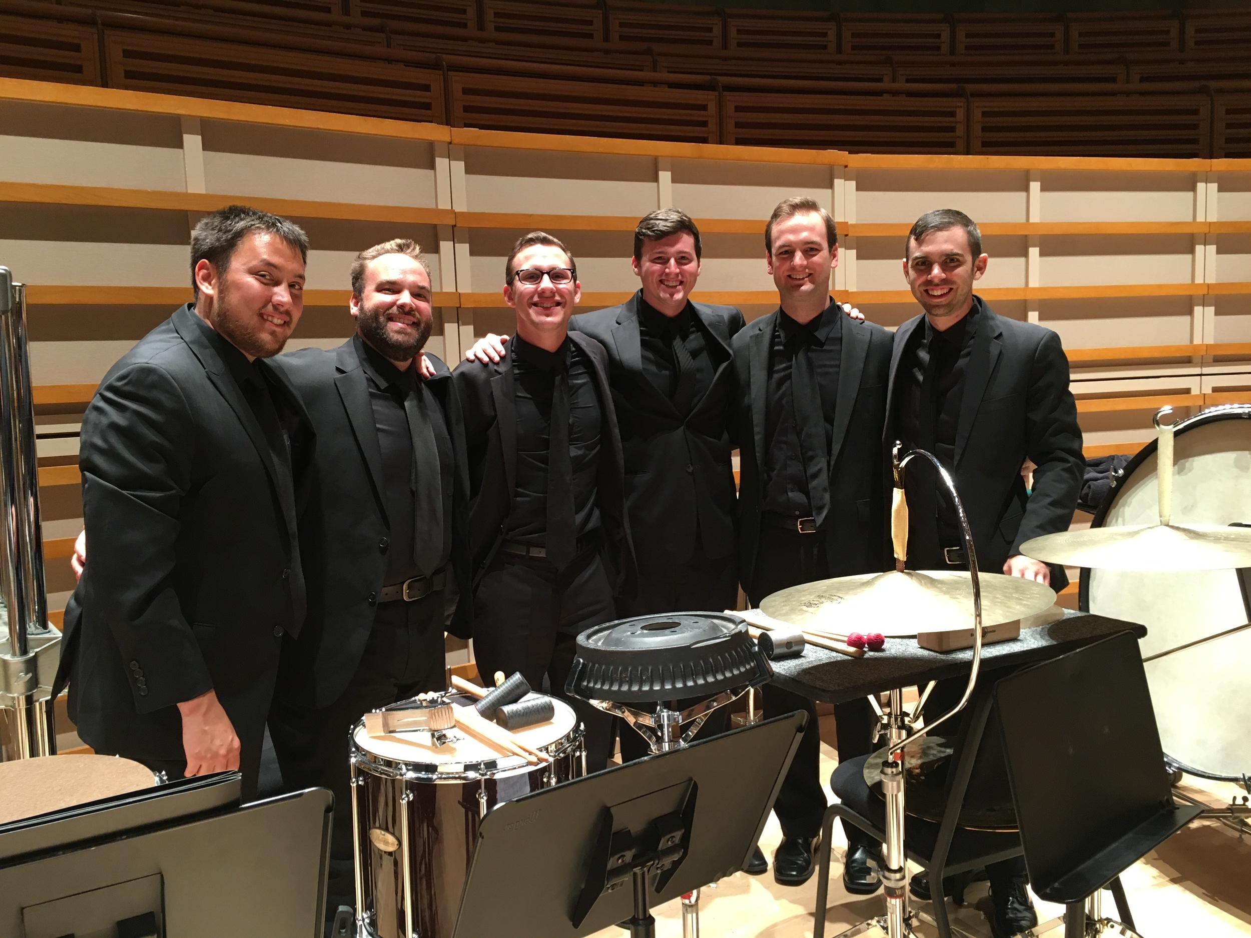 New World Percussion Section after playing Copland's Third Symphony.  Matt Howard, myself, Brad Loudis, Stephen Kehner, Alex Wadner, and Dan Morris.