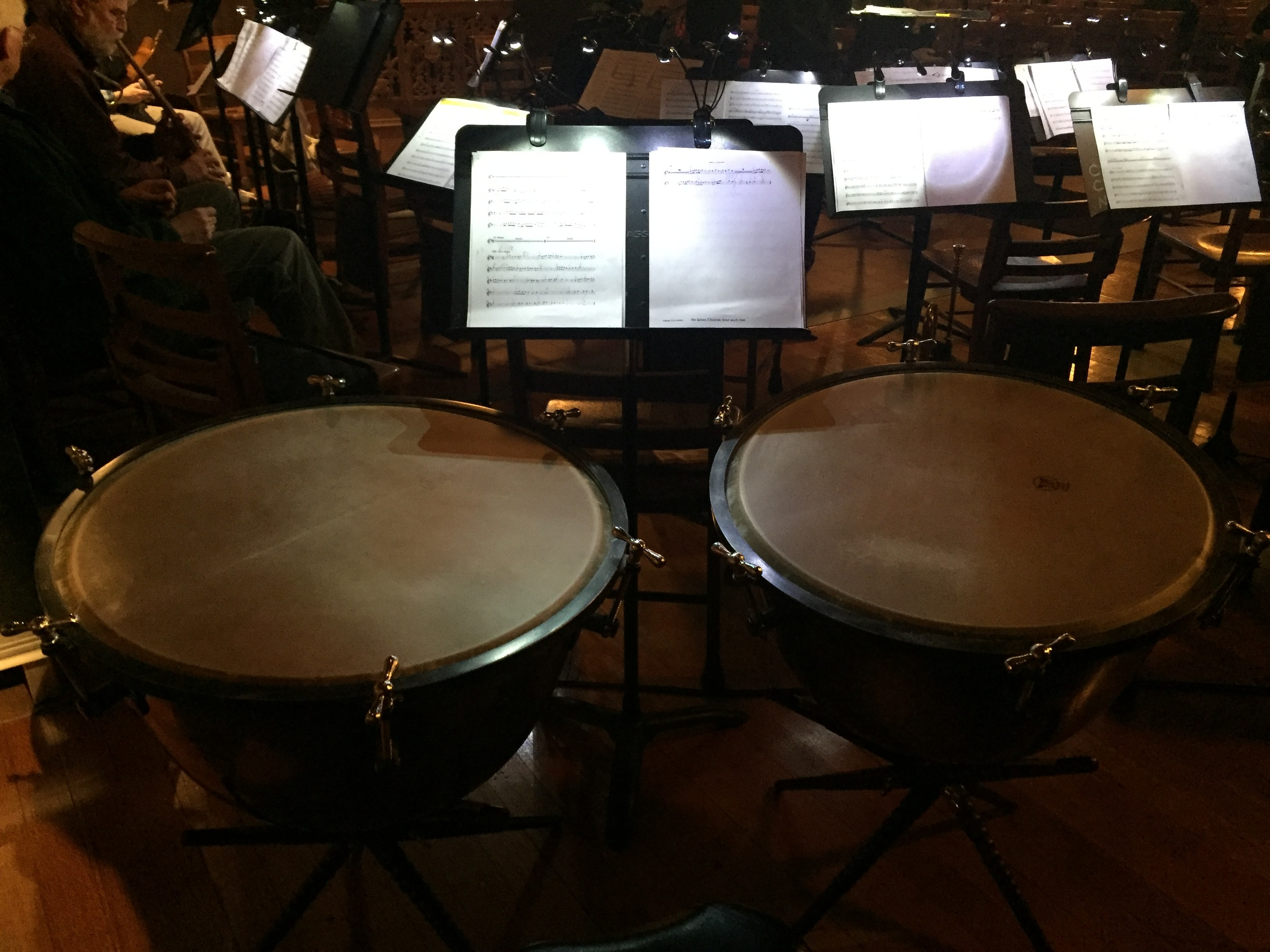 Playing baroque timpani with the Yale Schola Cantorum.