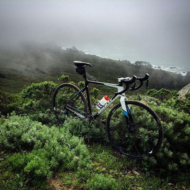 Bikes in the mist.