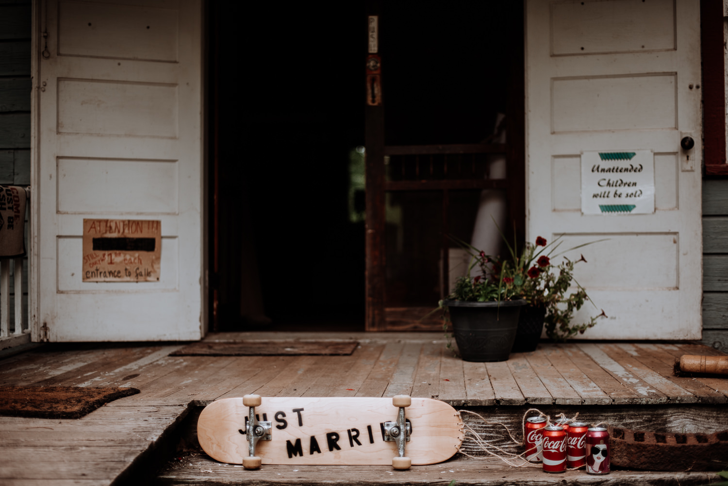 just married skateboard