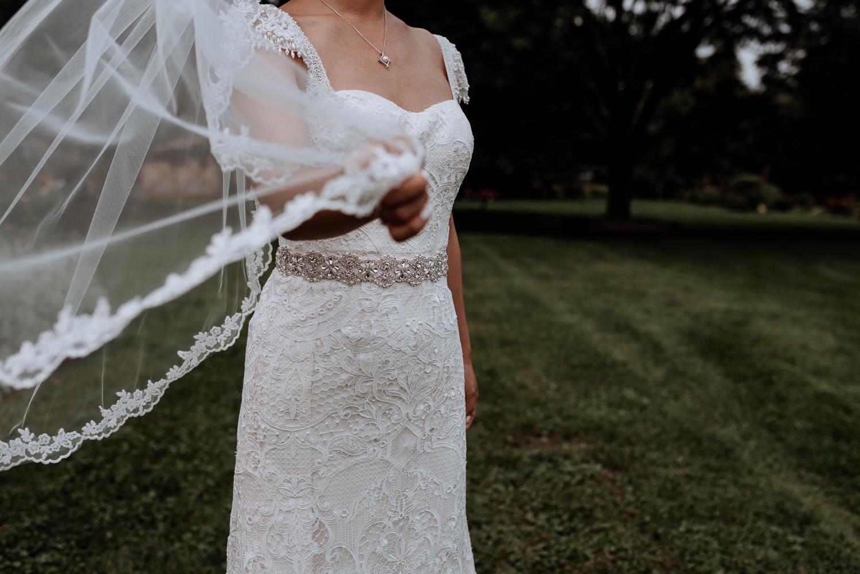 Red Maple Vineyard Wedding Photography, bride with veil portrait