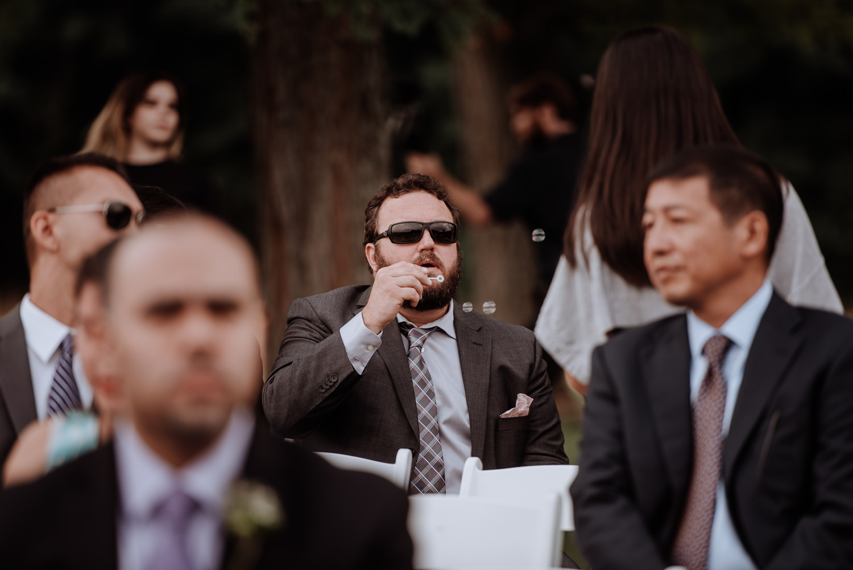 Red Maple Vineyard Wedding ceremony bubbles