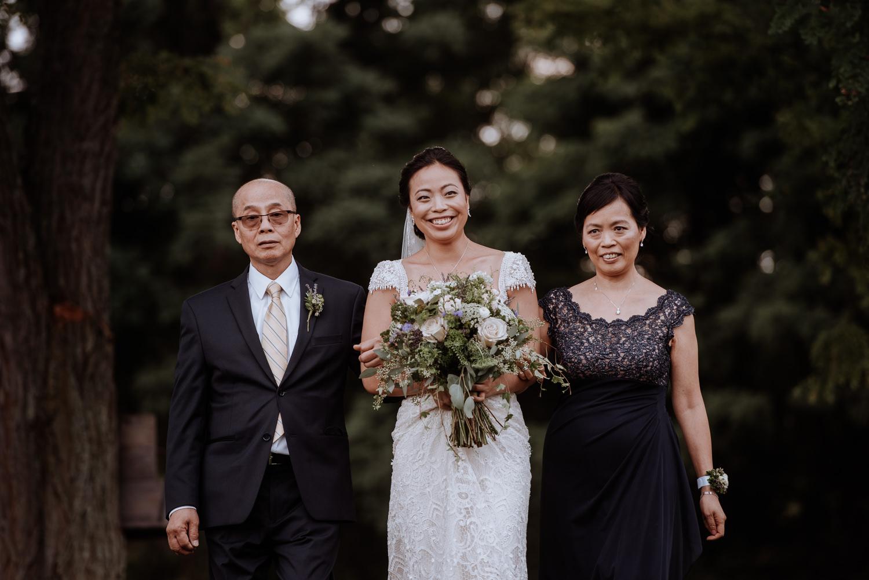 bride walks down aisle