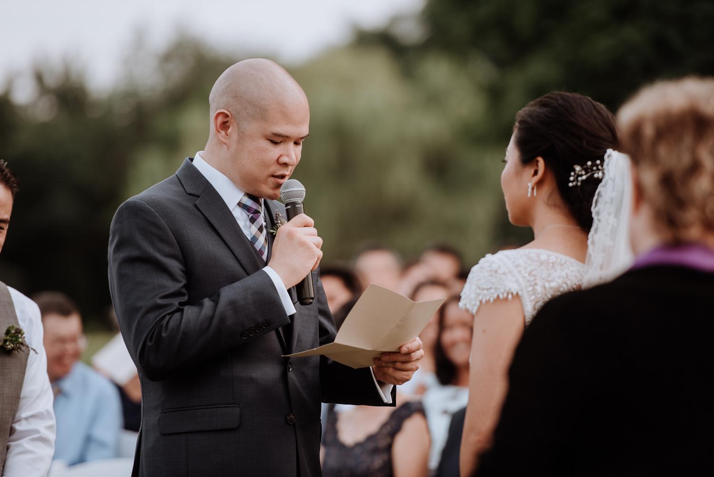Red Maple Vineyard Wedding vows groom