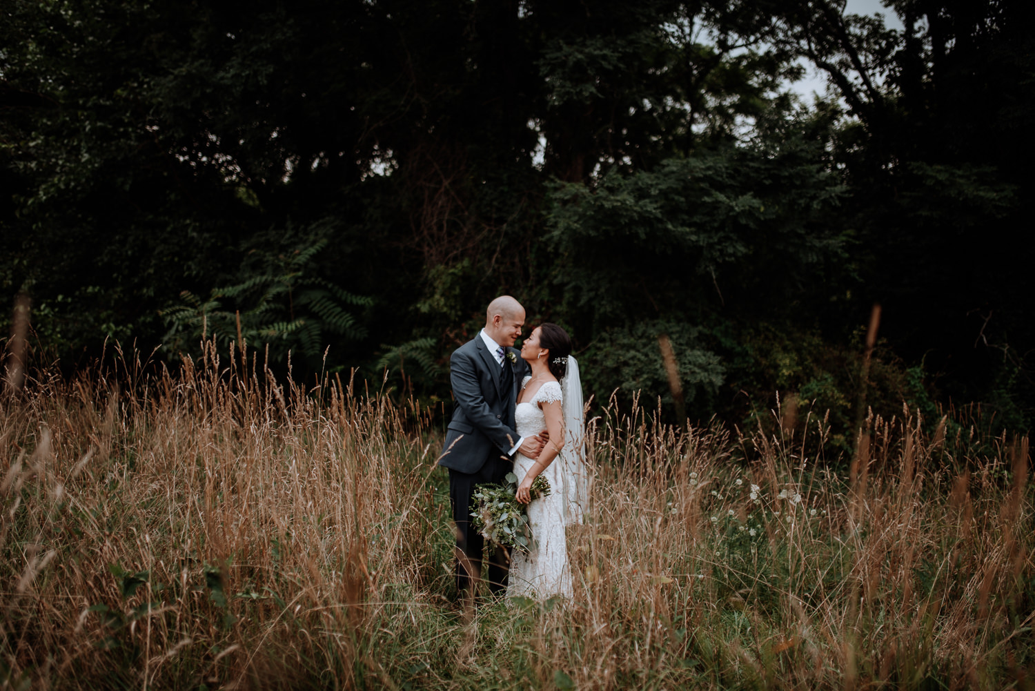 just married bride and groom portrait