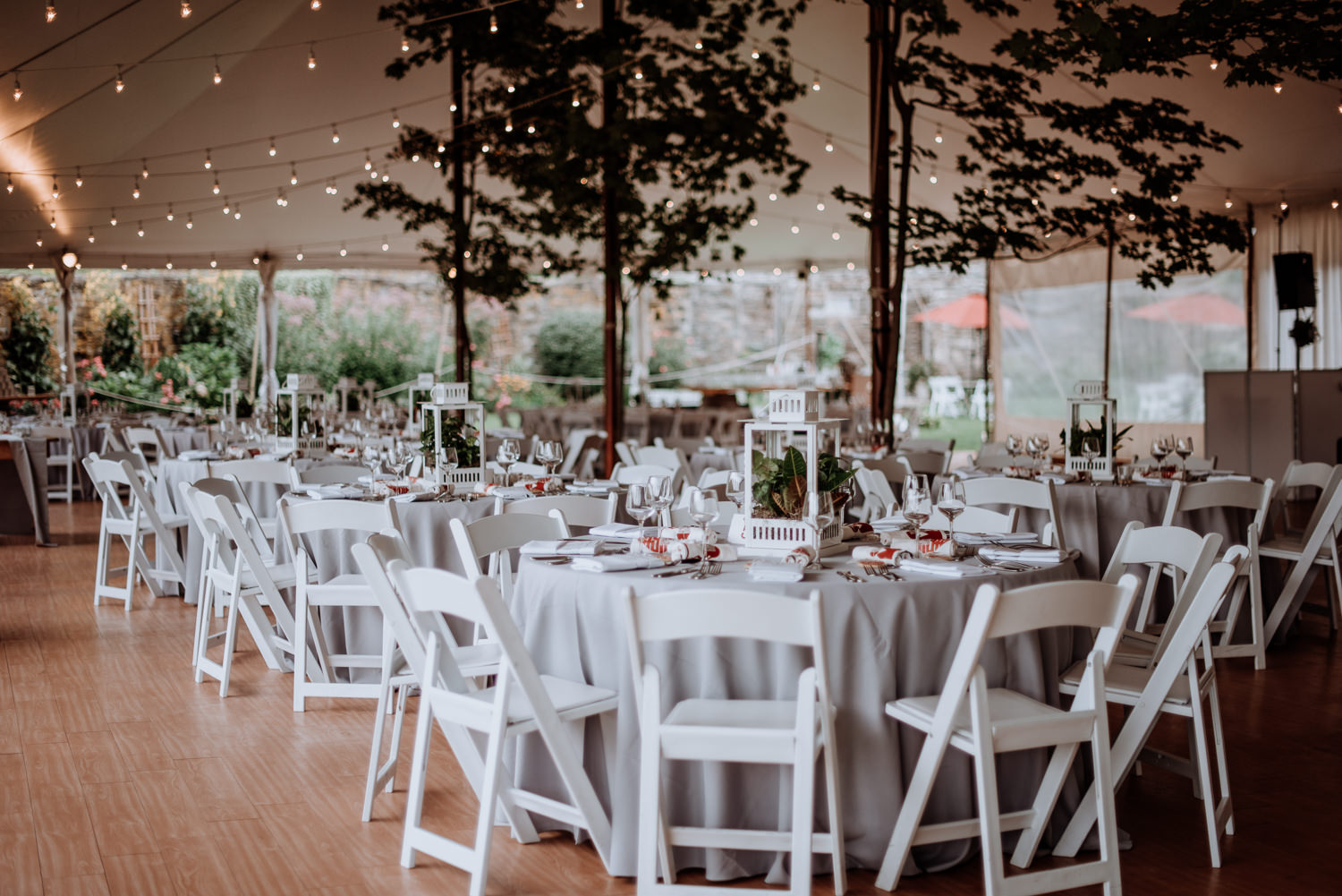 Wedding reception tent at red maple vineyard