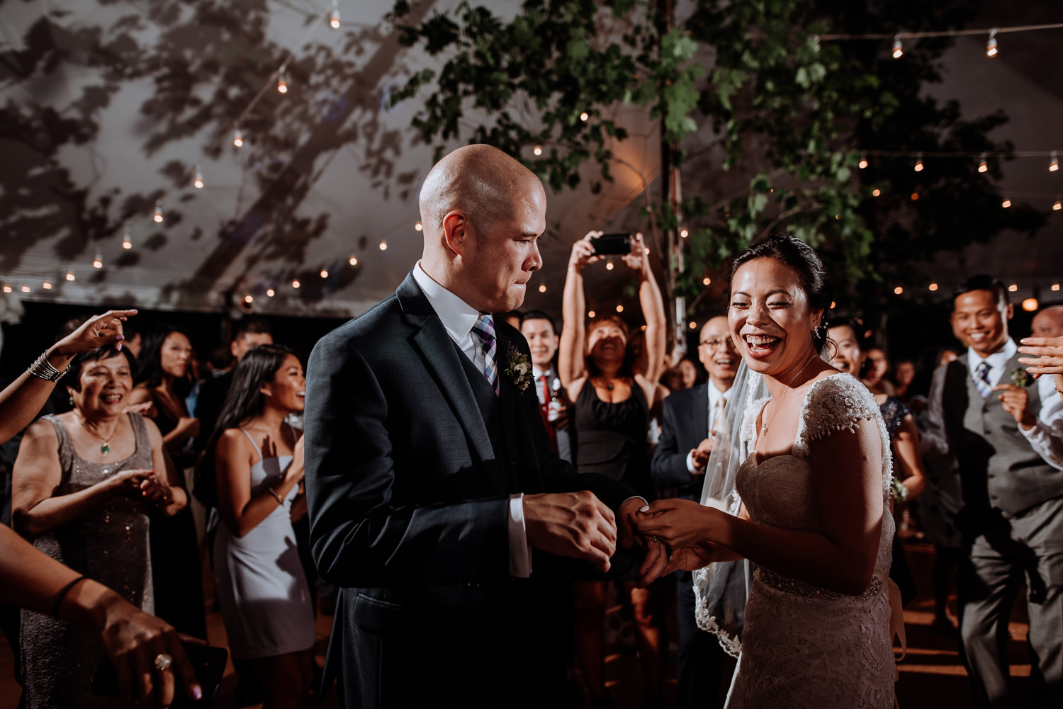 dancing couple at red maple wedding
