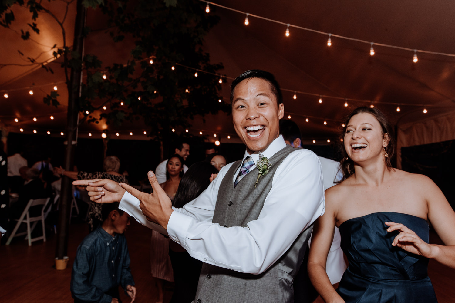 happy guests at red maple wedding