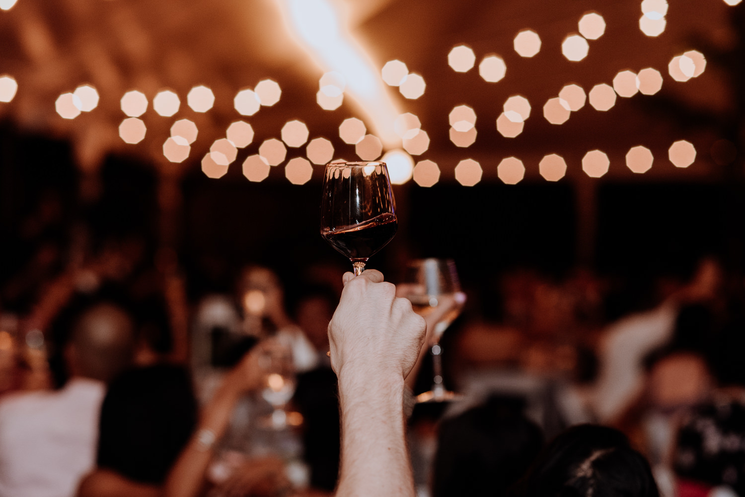 wine glass in air for wedding toasts