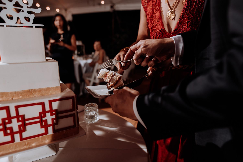 cake cutting at Red Maple Vineyard Wedding
