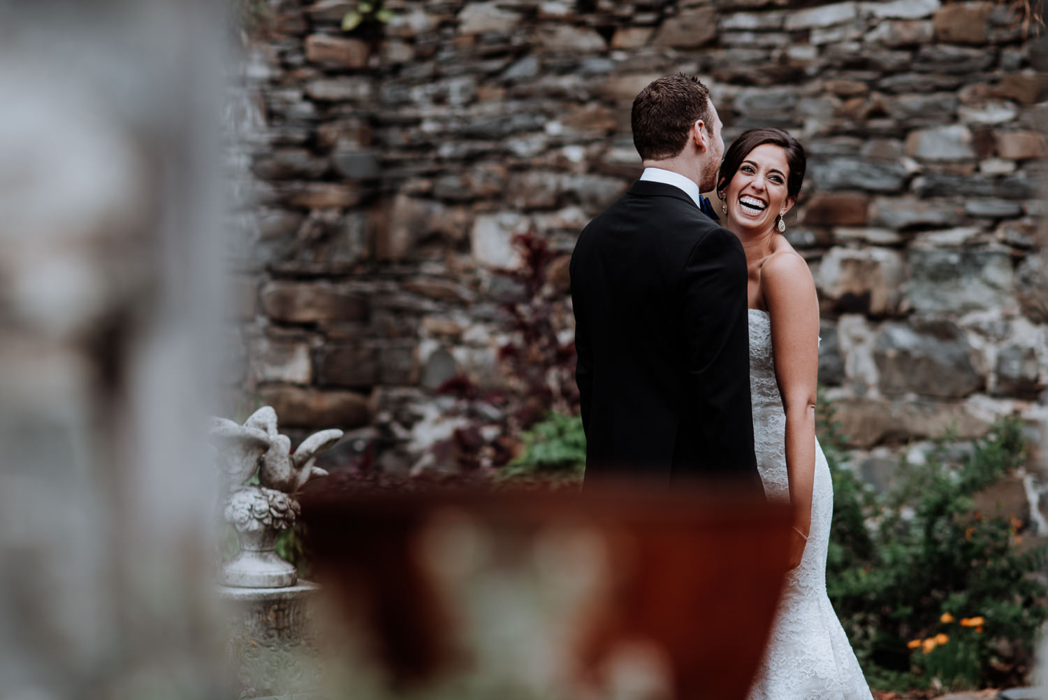 First Look at Red Maple Vineyard Wedding