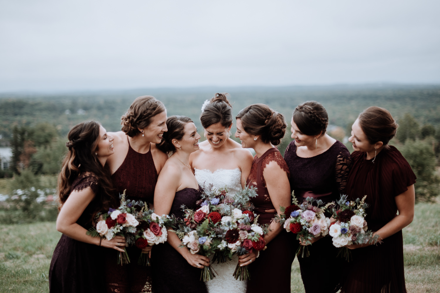 Red Maple Vineyard Wedding party