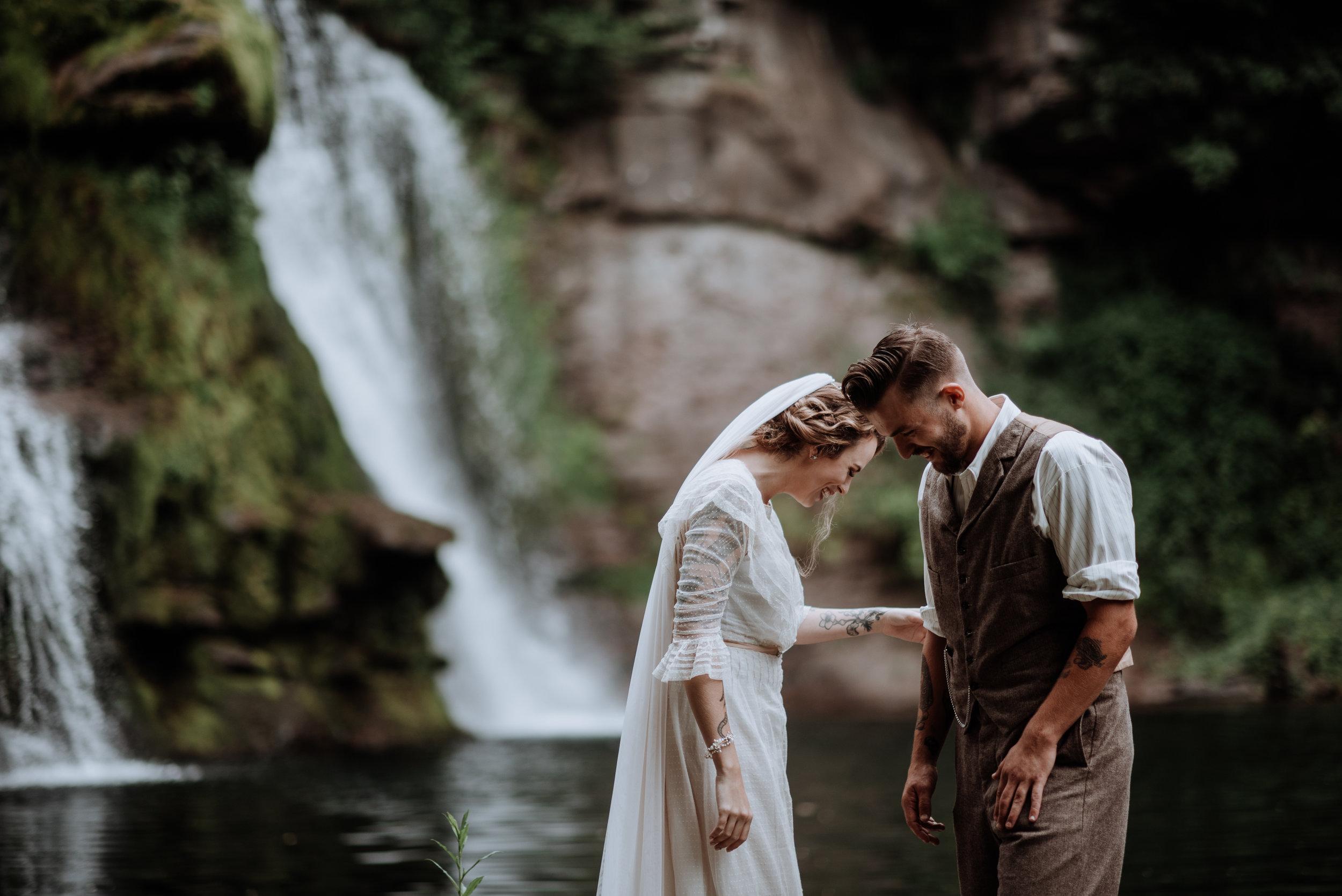 Catskill Wedding | Waterfall, forest, unicorns