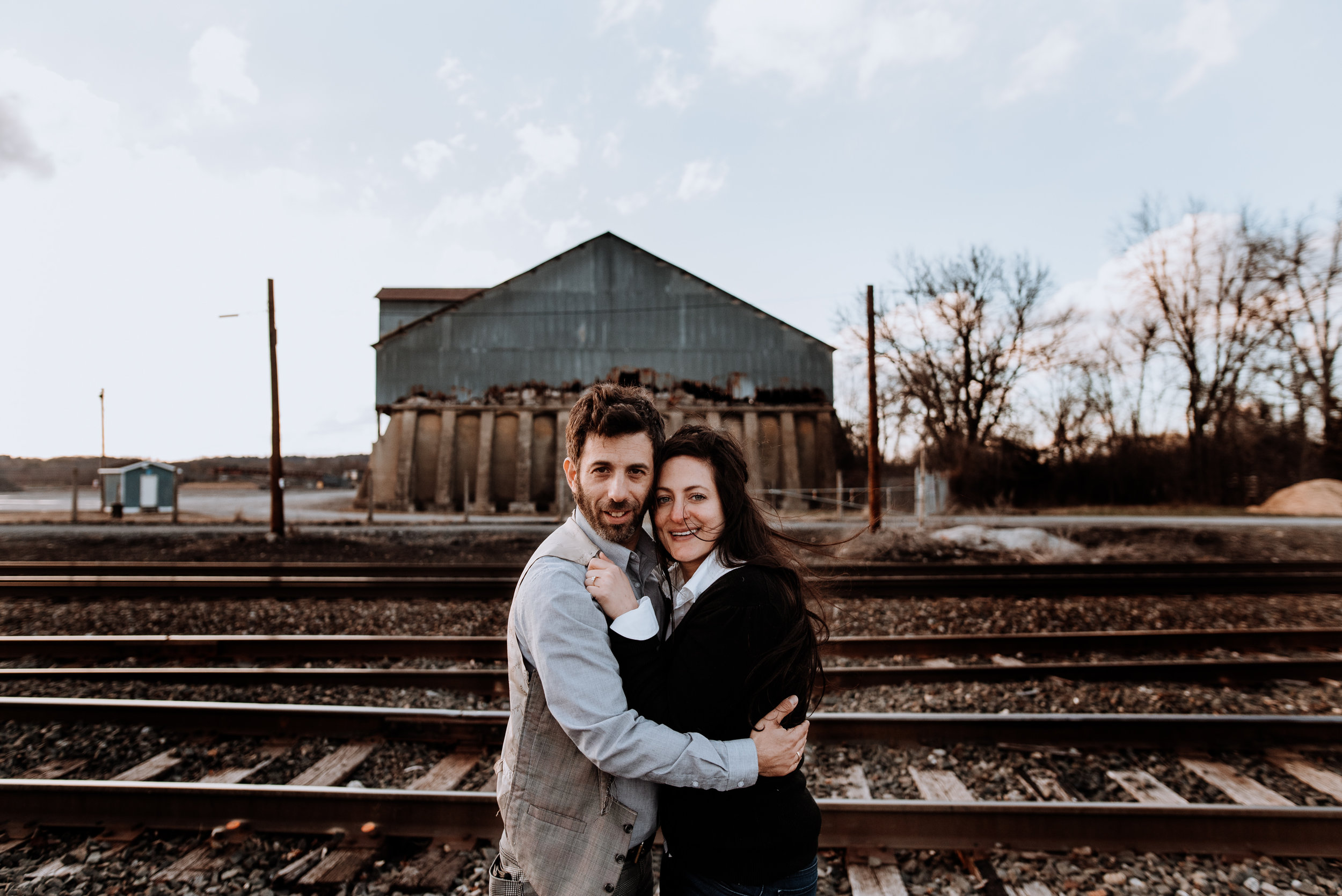 Industrial Engagement Session in Hudson NY outside The Basilica