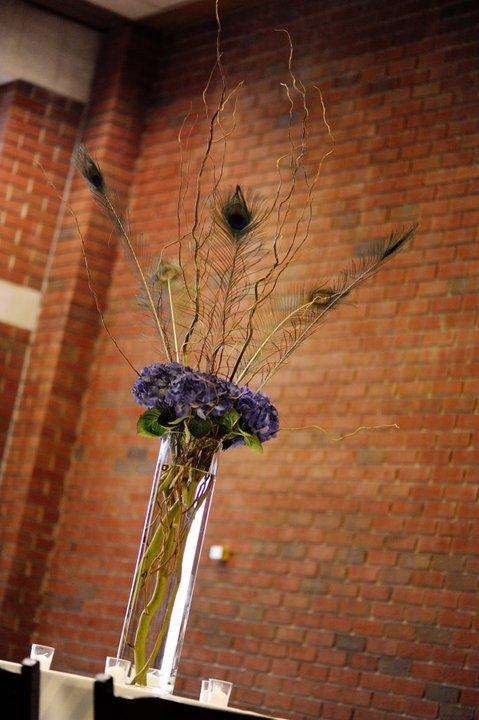 Peacock & Hydrangea Wedding, First Christian Church, Rachel Blackwell Photography, Weddings by Karie, Tall Centerpiece