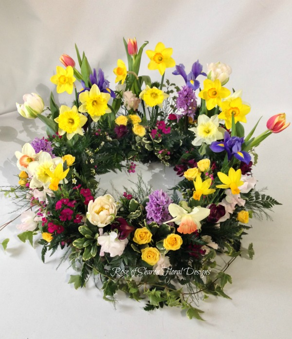 Spring blooms urn wreath