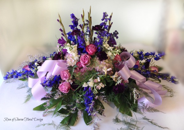 Blue & Purple casket spray