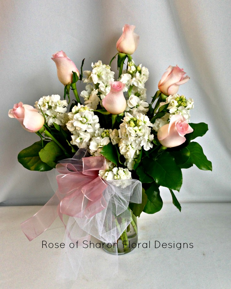 Half a Dozen Pink Roses with Stock and Foliage, Rose of Sharon Floral Design