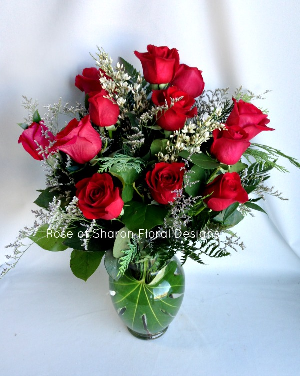Dozen Roses with Foliage and Filler, Rose of Sharon Floral Designs