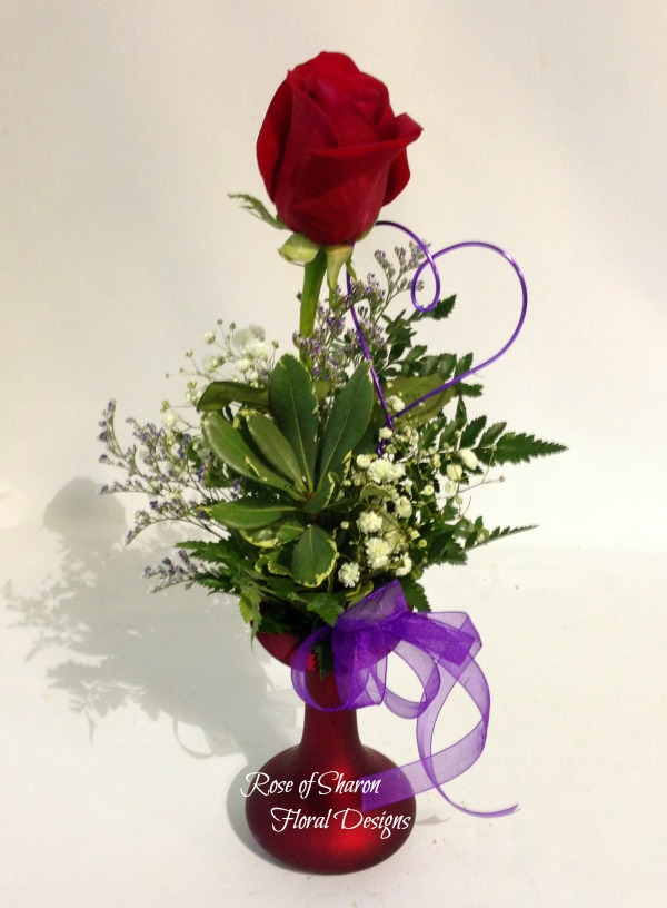 Single Rose Bud Vase with a Variety of Foliage and Filler, Rose of Sharon Floral Designs