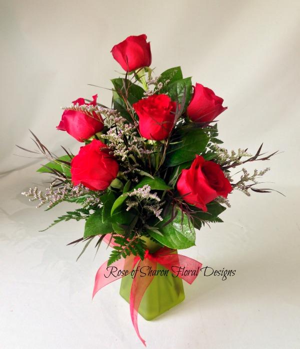 Half a Dozen Rose Arrangement with Limonium and Foliage, Rose of Sharon Floral Designs