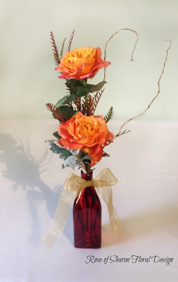 Two Stem Garden Variety Free Spirit Rose Bud Vase with Foliage, Rose of Sharon Floral Designs