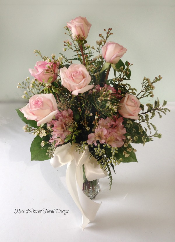 Half a Dozen Pink Roses with Alstroemeria, Wax Flower and Foliage, Rose of Sharon Floral Designs