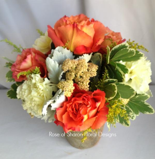 Garden Rose and Carnation Arrangement, Rose of Sharon Floral Designs