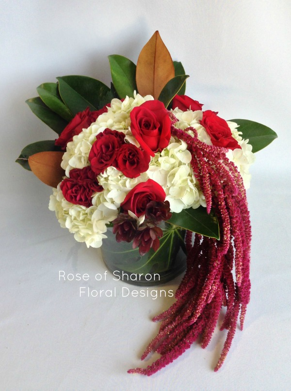 Hydrangea, Rose and Amaranthus Arrangement, Rose of Sharon Floral Designs