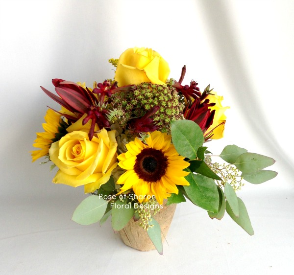 Sunflowers, Roses and Kangaroo Paw Arrangement, Rose of Sharon Floral Designs