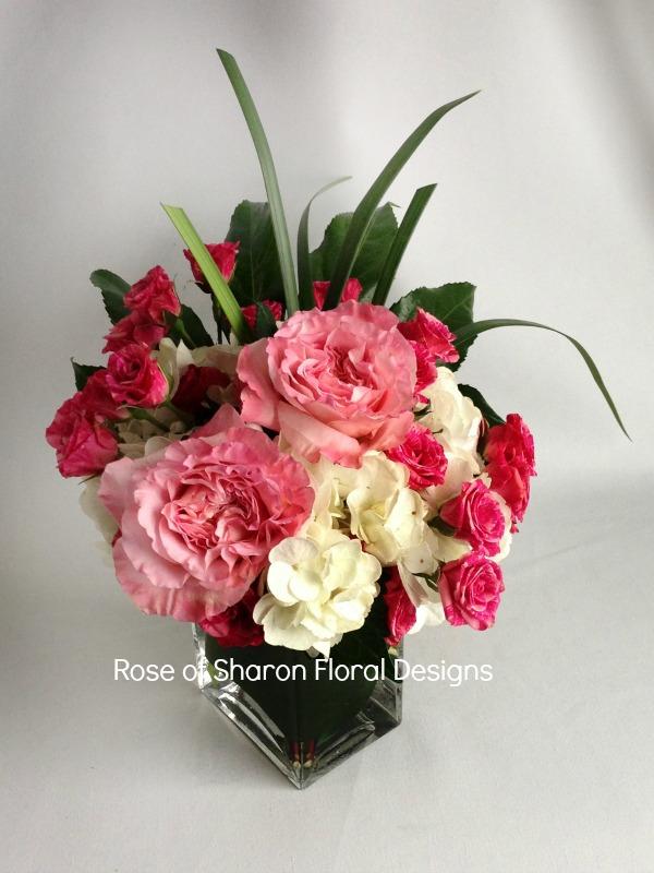Spray Rose, Carnation and Hydrangea Arrangement, Rose of Sharon Floral Designs