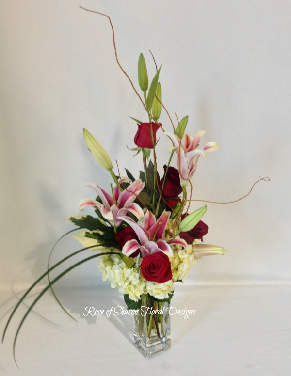 Hydrangea, Rose and Lily Arrangement with Lily Grass, Rose of Sharon Floral Designs
