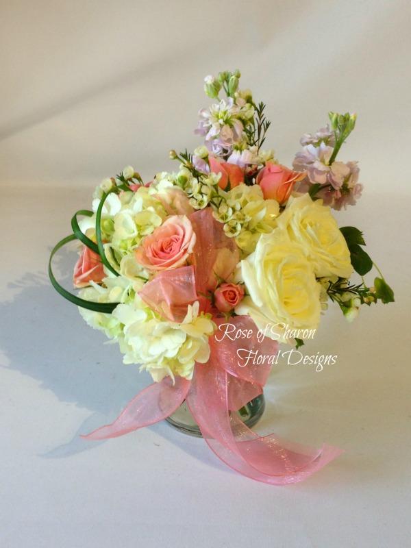 Spring Garden Rose and Hydrangea Arrangement, Rose of Sharon Floral Designs