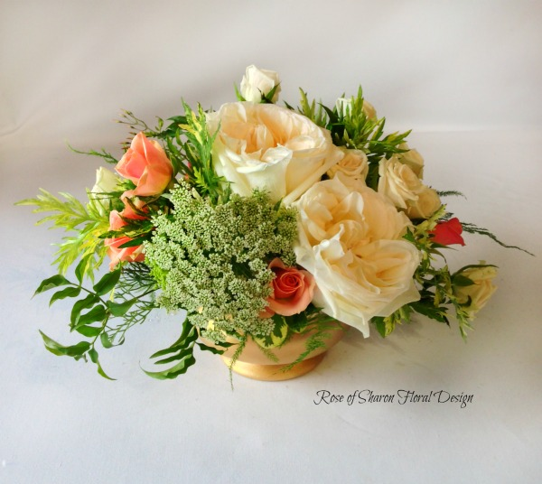 Garden Roses and Greenery Arrangement, Rose of Sharon Floral Designs