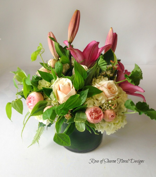 Rose, Hydrangea and Lily Arrangement, Rose of Sharon Floral Designs
